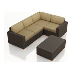 Harmonia Living - Arden 5 Piece Modern Patio Sectional Set, Heather Beige Cushions - The 5 Piece Arden Sectional Set with Tan Sunbrella® Cushions (SKU HL-ARD-5SEC-CH-HB) exudes a modern, relaxing style to any outdoor space, turning it into a center ready for entertaining and enjoying of the sun outdoors. Each seat is accompanied with comfortable, fast-drying cushions covered in Sunbrella fabric, known in the industry for the best mildew and fade resistant outdoor fabrics. Each strand of wicker is infused with a warm Chestnut, textured finish made from High-Density Polyethylene (HDPE) with UV protection, ensuring long-lasting color despite anything the outdoors has in store for it. Each set piece also features a thick-gauged aluminum frame that is corrosion resistant, giving this set fantastic structural integrity. Complete with sturdy teak wood feet that are outfitted with plastic glides to allow you to endlessly rearrange the set without scuffing your patio or deck.
