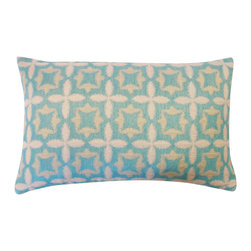 Jiti - Motif Aqua Pillow - Spice up your home decor with our Motif Aqua Pillow!  Made from 100% Cotton. Invisible Zipper. DRY CLEAN ONLY. Insert is made of 95% feathers and 5% down.