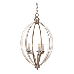 Currey & Company - Currey & Company Bella Luna Chandelier, Small - Celestial inspiration elevates this charming piece to new heights. The small scale version of the Bella Luna Chandelier is a lovely homage to the heavenly bodies. Its Contemporary Silver Leaf finish provides the perfect accent to the smooth curves of its elliptical body.