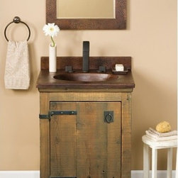 """24"""" Americana Vanity in Chestnut - Character is a thing of the past. Handcrafted by American artisans from reclaimed wood, each Americana Vanity has a character as rich as its history. Its beautifully textured wood, rescued from structures of the past: old barns, homesteads, and fencing, has stood the test of time. These strong heirloom pieces lend soulful presence and are complemented with hand-forged iron hardware."""
