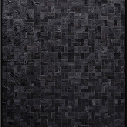 Zag - Zag - Zag Bloc Quilted Hide Rug in Black - The new Zag collection is a fresh take on a classic material. Small cowhide strips are artfully stitched together by hand using an incredibly durable polyester. The end result is a completely new design of rug that is altogether modern without forgetting the roots of this humble material. All Zag rugs are made from the highest quality South American hides and are backed with a durable backing. Easily cleaned - vacuum periodically and use soap and water for spills. Stain resistant. Black shades with dark border.