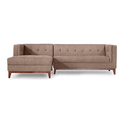 Kardiel - Kardiel Harrison Modern Sofa Chaise Sectional-Left Face, French Press Twill - Harrison is deliberately structured for a comfortable seating experience. Generously filled & tufted cushions are coupled with firm supportive back and arms. Your days of adjusting and straightening the pillows may be over as the affixed cushion design maintains Harrison's tailored appearance, even in the most active social settings. The tufting of this iconic mid-century design has been updated with the low maintenance blind button technique. Presented in precise proportion to the original on the back, as well as the interior sides of the arms and the seat. True to the original, the front edge of the seat cushion is upholstered in a 1-piece design, seamless and piping free for a clean appearance. The extending chaise is built as one unit into the sofa element providing an exceptionally clean side profile (see images). The hand-crafted quality of Harrison features kiln dried solid hardwood legs. A foam wrapped, kiln dried wood frame provides the structure from which the entire sofa is built upon. Harrison's durable tailored twill fabric options reduce the unsightly appearance of excessive surface piling and fuzzing.