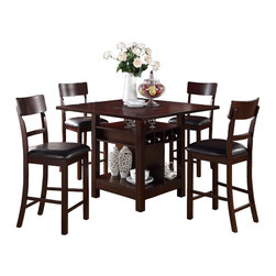 Adarn Inc. - Rosy Brown 5 PC Counter Height Dining Set Square Table Lazy Susan Wine Storage - This counter height table features an elaborate design of a lavish dark rosy brown table that includes a built-in Lazy Susan, wine storage and shelving for your home artifacts encompassed in the frame and base. Include these amazing counter height chairs upholstered in a dark chocolate faux leather cushions with a single panel rectangular shaped back support.