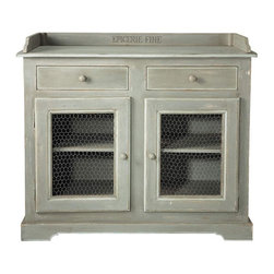 St Remy Buffet - Chicken wire has a way of adding a casual rustic vibe to anything. It doesn't fail in this buffet, which looks straight out of a French farmhouse.