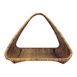 Selamat Designs - Hearth Pharoah Basket Log Holder, Natural - Mid Century forms meet woven rattan and black metal to create practical storage for the hearth.