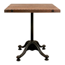 Nuevo Living - V42 Bistro Table, Small - Introduce some retro-chic to your favorite setting with this bistro table, ideal for smaller dining spaces. Its sturdy, curvy base recalls some bygone café, while the reclaimed hardwood top is both rustic and elegant.