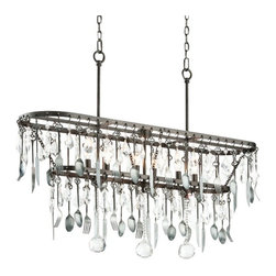 """Troy - Iron Bistro Collection 42"""" Wide Silverware Island Chandelier - Add a little flair to your kitchen and dining areas with this elegant island chandelier. Made of hand-worked iron this design features gleaming crystal accents that shine amongst hanging silverware finished in antique pewter. A graphite finish adorns the frame for a vintage inspired touch. From the Bistro Collection by Troy Lighting. Antique pewter finish silverware design. Graphite finish. Crystal accents. Hand-worked iron construction. Six maximum 60 watt or equivalent candelabra base bulbs (not included). Includes 8"""" downrod. 42"""" wide. 30 3/4"""" wide. 10 1/2"""" deep.  Antique pewter finish silverware design.  Graphite finish.  Crystal accents.  Hand-worked iron construction.  Six maximum 60 watt or equivalent candelabra base bulbs (not included).  Includes 8"""" downrod.  42"""" wide.  30 3/4"""" wide.  10 1/2"""" deep."""