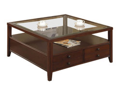 Riverside Furniture - Riverside Furniture Avenue Square Cocktail Table in Dark Cherry - Riverside Furniture - Coffee Tables - 61005 - The Arkansas River Valley is home of majestic forests ruggedly beautiful mountains gurgling brooks and swiftly flowing rivers. It is also the home of Riverside Furniture Corporation. But like they would with any old friend most folks refer to us just by our first name. Riverside has been growing with America for more than half a century now and since then Riverside has been a name three generations of Americans who have furnished their homes and offices with our wide range of furniture products. We want the Riverside name to be trusted for quality products that are an affordable value. It's just that simple.