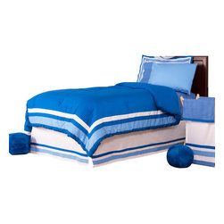 "Simplicity Blue - Twin Set (6pc) - Let your personality come to life in a room filled with sophistication and style.  Simplicity Blue is nothing too simple for you!  Beautiful hues of blue with white throughout make the most of this set.  This 6pc set includes twin comforter, twin bed skirt,  twin flat sheet, twin fitted sheet, 1 standard pillowcase, 1 standard flanged pillow sham. Comforter comes a beautifully framed design in shades of dark blue, light blue and white.  Opposite side is in solid darker blue.  All in cotton print fabric.  Flat and fitted sheets come with our signature ""Blue Dots"" cotton print fabric.  Standard pillowcase comes in solid blue and trim in ""Blue Dots"" cotton print fabrics.    Bed skirt designed with lines of white and both color blues in cotton print fabric.  Standard flanged sham designed to replicate comforter in design.  All in cotton print fabric.    SAVE WHEN YOU BUY AS A SET!"
