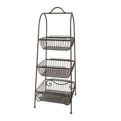 None - Blue Metal Plant Stand - The Metal Plant Stand is just what you need for your outdoor gardens and lawns. This convenient metal plant stand features a three tier structure ideal for planting a wide range of flowers.