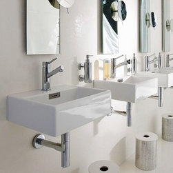Linea Sink by WS Bath Collections Model Quarelo 53708 - This is a very cool sink that keeps things streamlined, white, glossy and modern.