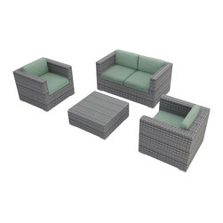 Harmonia Living - Urbana 4 Piece Modern Wicker Sofa Set, Weathered Stone Wicker, Spa - The Harmonia Living Urbana 4 Piece Wicker Patio Sofa Set with Turquoise Sunbrella cushions (SKU HL-URBNWS-4SS-SP) is sure to turn your patio into a stylish center of modern outdoor entertainment. Its durable, reinforced aluminum frames and fade-resistant High-Density Polyethylene (HDPE) wicker keep this outdoor sofa set looking great for years. Each strand of wicker has been infused with a Weathered Stone color and UV protection to ensure it will neither crack nor fade from regular sun exposure, setting its quality apart from rattan patio sets. The loveseat and chairs include fade- and mildew-resistant Sunbrella cushions in Canvas Spa that are made in America and come complete with cushion ties to keep them firmly in place. The cushions can also be unzipped to wash the cover fabric, making it easy to care for your patio set. Inside of the cushions is a comfortable padding wrapped in Dacron, which helps reduce moisture retention, preventing mildew from forming. The entire set is designed to provide roomy outdoor seating for adults and the seats are reinforced to provide comfort and support and to prevent sagging. Few modern outdoor sofa sets offer this level of quality and design at such an affordable price. Compare our furniture sizes and quality construction with the rest and you will not find a better value!