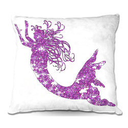 DiaNoche Designs - Pillow Linen by Susie Kunzelman - Mermaid Purple - Add a little texture and style to your decor with our Woven Linen throw pillows. The material has a smooth boxy weave and each pillow is machine loomed, then printed and sewn in the USA.  100% smooth poly with cushy supportive pillow insert with a hidden zip closure. Dye Sublimation printing adheres the ink to the material for long life and durability. Double Sided Print, machine wash upon arrival for maximum softness. Product may vary slightly from image.