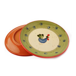 Vita Casalinga - Hand-Painted Rooster Dinner Plate - Known for their famous crow of cock-a-doodle-doo, this rooster-designed delight will have you crowing about these beautiful table settings. Handpainted in Italian terra-cotta, you'll also like the artistic story behind each one.