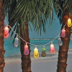 10 Plastic Flip Flop Party String Lights Beach Luau - These flip-flop string lights are so festive that they'll brighten up any room. They would be great in a playroom or kid's bedroom.