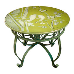 "Hand Painted Bistro Table Top, 24"" Lime Green, Love Birds Cherry Blossom -"