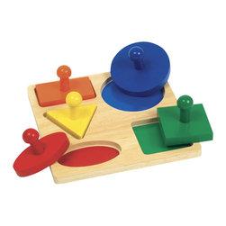 Guidecraft - Guidecraft Hardwood Geometric Puzzle Board - Guidecraft - Puzzles - G527 - Oppenheim Toy Portfolio Gold & Snap Seal Award and Child Magazine Bet 50 Toys