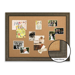 "Corkboard - 44"" x 32"" Framed Cork Board, Sutton Bronze - Dimensions include frame."