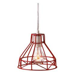 Kelley Wire Pendant in Red - Slick metal wire gets a fun, poppy update on this playful pendant light. Hang its vibrant style in the reading nook for a splash of bold, rugged good taste.