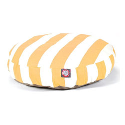 MAJESTIC PET PRODUCTS - Vertical Stripe Round Pet Bed - pet bed looks great in any room of your house and is filled with ultra-plush fiberfill for luxurious napping. The removable zippered slipcover is made from outdoor-treated, UV-protected polyester for durability, and the base is made from heavy-duty waterproof 300/600 denier fabric that can go inside or out. Spot clean the slipcover and hang dry. Comes in a variety of colors and patterns, so you can pick the one that complements your decor.