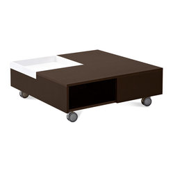 Domitalia - Roy Square Coffee Table, Wenge - Square coffee table with wheels