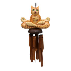 Songbird Essentials - Orange Tabby Yogi Cat Bamboo Windchime - Songbird Essentials' bamboo windchimes offer great color and soothing sound to enhance your outdoor living experience. Entirely hand carved and hand painted using all natural bamboo and albesia wood.