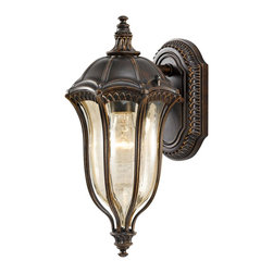 """Murray Feiss - Traditional Feiss Baton Rouge 15"""" High Outdoor Wall Lantern - Created out of high quality die cast aluminum and finished in a rich warm walnut this outdoor wall lantern will add an elegant accent to your home. The lamp housing is fashioned in a scalloped design featuring molded gold luster tinted glass. Detailed scrollwork and an accented backplate make the perfect finishing touches. From the Baton Rouge Collection by Murray Feiss. Walnut finish. Gold luster tinted glass. Die cast aluminum construction. Takes one 60 watt medium base bulb (not included). 15"""" high. 7 1/2"""" wide. Extends 9"""" from the wall.  A Feiss outdoor wall lantern design.  Walnut finish.  Gold luster tinted glass.  Die cast aluminum construction.  Takes one 60 watt medium base bulb (not included).  15"""" high.  7 1/2"""" wide.  Extends 9"""" from the wall."""