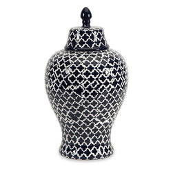 "Imax Worldwide Home - Layla Large Urn - The blue and white quatrefoil patterned large Layla urn adds a chic vibe to any room.; Materials: 100% Ceramic; Country of Origin: China; Weight: 5.94 lbs; Dimensions: 17.5""H x 10""W x 10"""