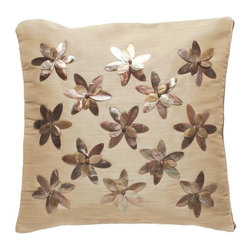 Kouboo - Decorative Pillow Cover with Brownlip Seashell and Beads - This unique, hand woven throw pillow is decorated with exotic Brownlip seashell. Additionally adorned with wooden beads, this decorative accent is perfect for embellishing sofas or chairs, or incorporated into any bedroom decor. Woven of Abaca fabric derived from the leaves of the tree-like Abaca herb, this beautiful accent borrows ambiance from the sea to add a tropical feel to any room of the home. 1 year limited warrantyBrownlip seashell & Wood Beads on hand-woven Abaca fabricInsert not includedClean with soft, damp cloth only Weighs 0.6 lb