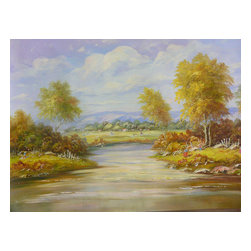 Golden Lotus - Oil Paint Canvas Art Countryside Scenery Wall Decor - Oil painting on canvas.  ( ship in roll, no frame )