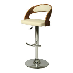 Pastel Furniture - Yreka Swivel Barstool In Pu Ivory - The contemporary Yreka Swivel Barstool has a simple yet elegant design that is perfect for any decor. An ideal way to add a touch of modern flair to any dining or entertaining area in your home. This barstool features a quality metal frame with sturdy leg