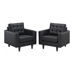 Modway Imports - Modway EEI-1282-BLK Empress Armchair Leather Set of 2 In Black - Modway EEI-1282-BLK Empress Armchair Leather Set of 2 In Black