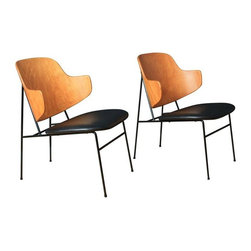 Vintage Penguin Chairs by Ib Kofod Larsen - A Pair - A pair of Mid-Century Modern penguin chairs designed by Ib Kofod Larsen. The chairs have metal frames, bent wood backs and black leather seats. They are in great condition!