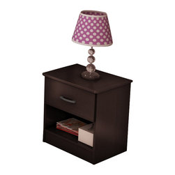 South Shore - South Shore Libra Nightstand in Chocolate - South Shore - Kids Night Stands - 3159061 -This practical and elegant night stand features an easy-access open storage space and a drawer fitted with metal handles in a Pewter finish.