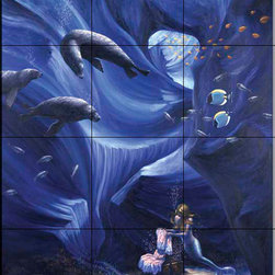 The Tile Mural Store (USA) - Tile Mural - Sb - The Treasure - Kitchen Backsplash Ideas - This beautiful artwork by Sambataro has been digitally reproduced for tiles and depicts a mystical world with a mermaid, treasure and several seals.  Our mermaid and manatee tile murals are a great way to add something unique to your kitchen backsplash tile project. Make your tub and shower surround bathroom tile project exceptional with one of our decorative tile murals of mermaids or manatees. Decorative tiles with mermaids are beautiful and timeless and will never go out of style. Make a mermaid tile mural or a tile mural of manatees part of your bathroom wall tile and enjoy this tile mural every day in your newly renovated bathroom.