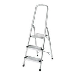 Polder - Polder 3-Step Ultra Light Step Ladder in Aluminum - This step ladder combines an exceptional design with extremely lightweight, long-lasting aluminum construction for great stability and support. The extra-high handrail provides you with additional balance.