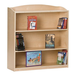 Guidecraft - Guidecraft Single-Sided Bookcase - 36H in. - G97013 - Shop for Bookcases from Hayneedle.com! The Guidecraft Single Sided Bookcase - 36H in. keeps any bedroom tidy. This bookcase has three display shelves that are approximately 11.5 inches deep and a top level for displaying books or toys. The middle two shelves are adjustable. This bookcase is constructed of birch plywood with a natural UV finish and has rounded edges and corners for safety and looks. Some assembly is required. Great in a boy's or girl's room!About GuidecraftGuidecraft was founded in 1964 in a small woodshop producing 10 items. Today Guidecraft's line includes over 160 educational toys and furnishings. The company's size has changed but their mission remains the same; stay true to the tradition of smart beautifully crafted wood products which allow children's minds and imaginations room to truly wonder and grow.Guidecraft plans to continue far into the future with what they do best while always giving their loyal customers what they have come to expect: expert quality excellent service and an ever-growing collection of creativity-inspiring products for children.