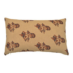 alamwar - Carnation Lumbar Pillow - Natural linen is hand block printed with a beautiful floral motif. Blue with cinnamon outline.
