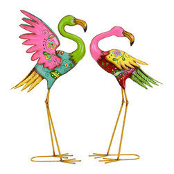 Benzara - Outdoor Garden Flamingo Sculpture Set - This set of pink flamingos features one of the most recognizable birds in the animal kingdom. With it's feathers of vibrant colors of pinks, greens and yellows, all working together to capture the eye of anyone looking in their direction. These birds would feel perfectly at home in any garden setting where their colors can shine in the sunlight.