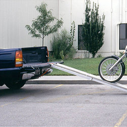 None - Motorcycle Ramp - This convenient motorcycle ramp will make getting your bike into your truck bed or trailer simple. Made from aluminum that offers strength without a lot of weight, the ramp features a skid-resistant surface that offers traction to ensure your safety.