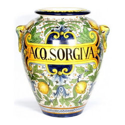 Artistica - Hand Made in Italy - MAJOLICA: Large orcio ''Aq. Sorgiva'' (Spring Water) - MAJOLICA Collection: This masterpiece truly reflect the expertise of the Italian Mastri-Ceramisti, who have spent the last five centuries perfecting the tin-glazed earthenware that is today called Majolica.