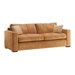 Lazar Industries - Sutton Place 2-Seater Sofa in Covergirl Sand - Sutton Place 2-Seater Sofa:  Without dramatic glare at first glance, the Sutton Place subdues with a radiant presence and impeccable tailoring and trakck arms.