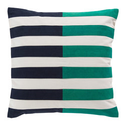 Surya - Surya Stripes Slate & Green Pillow - Nautical inspiration takes center stage on this plush and contemporary Surya throw pillow. Slate blue and green stripes punctuate the square accessory's white background for bold geometric allure. 100% cotton; Down fill; Available in several sizes