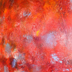 "Adina Cicort - Red Abstract Oil Painting - Original contemporary abstract oil painting part of Universe of Color collection inspired by the universe and planets theme. Its original title ""Trip to Mars"". The painting is 36 x 24 inch made of oil layers painted on canvas with a non-traditional technique for a fine texture; traditional stretched canvas painted on the edges. Has a wire on the back and it's ready for hanging. You can frame it if you prefer. Frame is not provided."