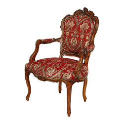 Oriental Furniture - Queen Elizabeth Arm Chair - Crimson Fleurs-De-Lis - Hand carved solid Poplar frame arm chair, with fine Rococo revival design on the top of the seat back. Red and gold fabric on the seat, back, and arm pads, outlined in faux-timeworn hammered upholsterer's tacks. Period scallop shell ornaments carved on the knees of the front legs