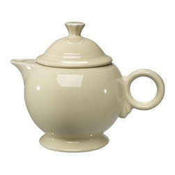 Fiesta Ivory Covered Teapot - 44 oz. - About FiestaAmerica's favorite dinnerware line, Fiesta was introduced by the Homer Laughlin China Company in 1936. Available in plenty of bright, vibrant colors and unique shapes, Fiesta dinnerware and serveware features Art Deco-style concentric rings. Made from durable, restaurant-quality ceramic and finished in lead- and cadmium-free glazes, this line of kitchenware is easy to mix and match to create your own custom set. Best of all, each piece is microwave- and oven-safe, and dishwasher-safe for easy cleanup.