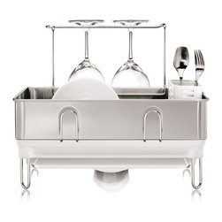 simplehuman - Simplehuman Compact Steel White Frame Dish Rack - The elegant solid steel frame of the Simplehuman compact dish rack with fingerprint-proof finish in white keeps the body shiny and sleek. This unit surely matches the aesthetic of any quality kitchen decor.