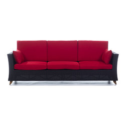 All Things Cedar - Rattan 4 Seater All Weather Wicker 8 Ft. SOFA with Ruby Red cushion - Our 8 Foot Deep Seat Sofa is a great accomodation for weekend get togethers and offers plenty of room for a Sunday afternoon nap. Item is made to order.