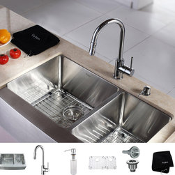 Kraus - Kraus Kitchen Combo Set T-304 Stainless Steel Farmhouse Sink with Faucet - Add utility and beauty to your kitchen with these stunning Kraus stainless-steel sinks. The deep,dual-basin sink is constructed from scratch-resistant steel and features a tall faucet with a pull-out head for convenient dish washing.