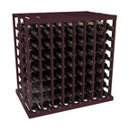Double Deep Tasting Table Wine Rack Kit in Redwood with Burgundy Stain - The quintessential wine cellar island; this wooden wine rack is a perfect way to create discrete wine storage in open floor space. With an emphasis on customization, install LEDs or add a culinary grade Butcher's Block top to create intimate wine tasting settings. We build this rack to our industry leading standards and your satisfaction is guaranteed.